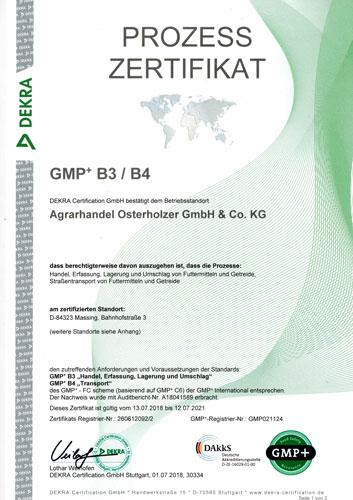 Prozess Zertifikat GMP